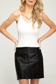 She + Sky FAUX LEATHER MINI SKIRT WITH LINING - Product Mini Image