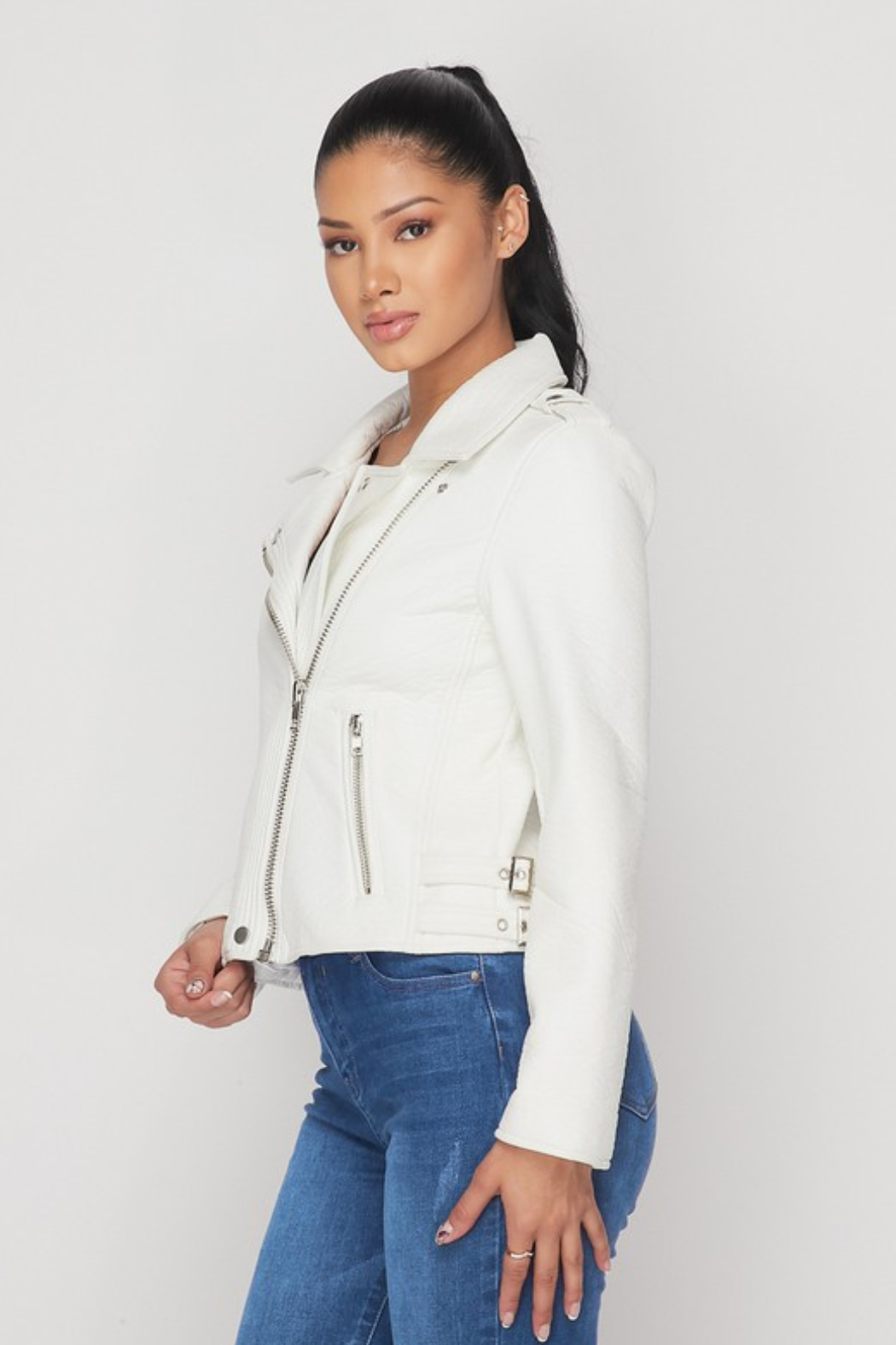 R+D  Faux Leather Moto Jacket - Front Full Image