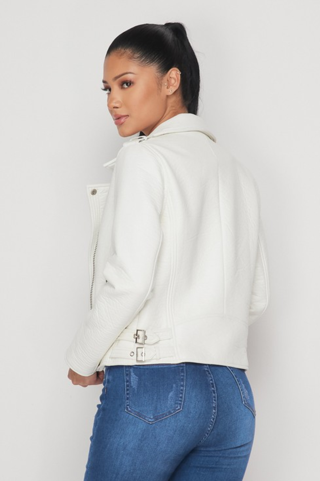 R+D  Faux Leather Moto Jacket - Side Cropped Image