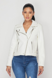 R+D  Faux Leather Moto Jacket - Front cropped