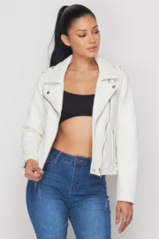 R+D  Faux Leather Moto Jacket - Back cropped