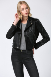 Fate Faux Leather Moto Jacket - Front full body