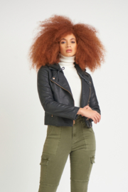 Dex Faux Leather Moto Jacket With Removable Hood - Product Mini Image