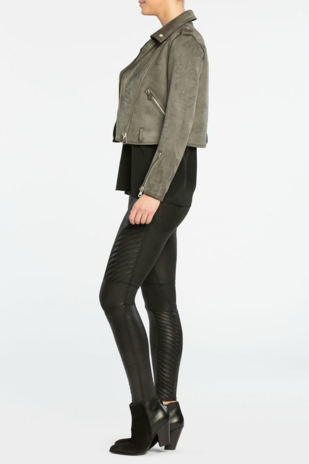 Spanx Faux Leather Moto Legging - Back Cropped Image