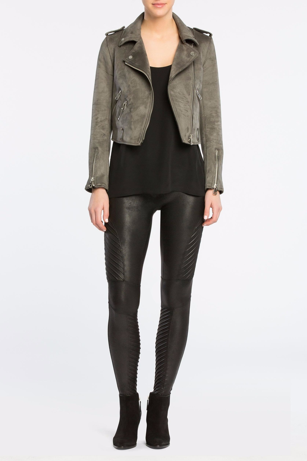 Spanx Faux-Leather Moto Leggings - Front Cropped Image
