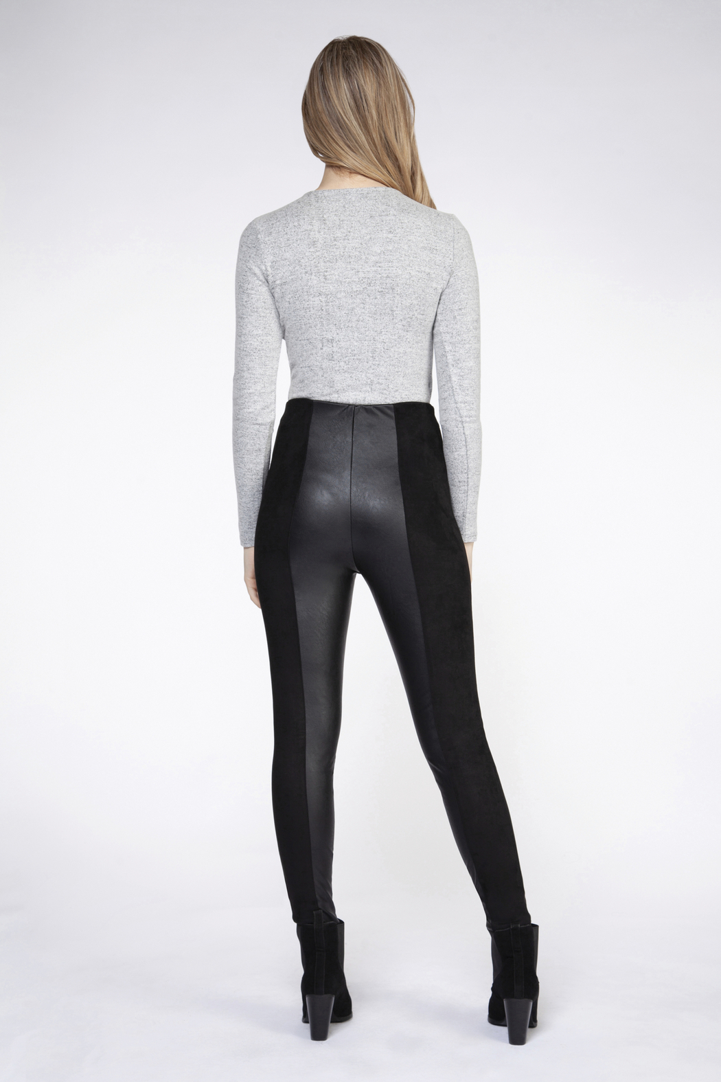 Dex Faux Leather Panel Leggings - Front Full Image