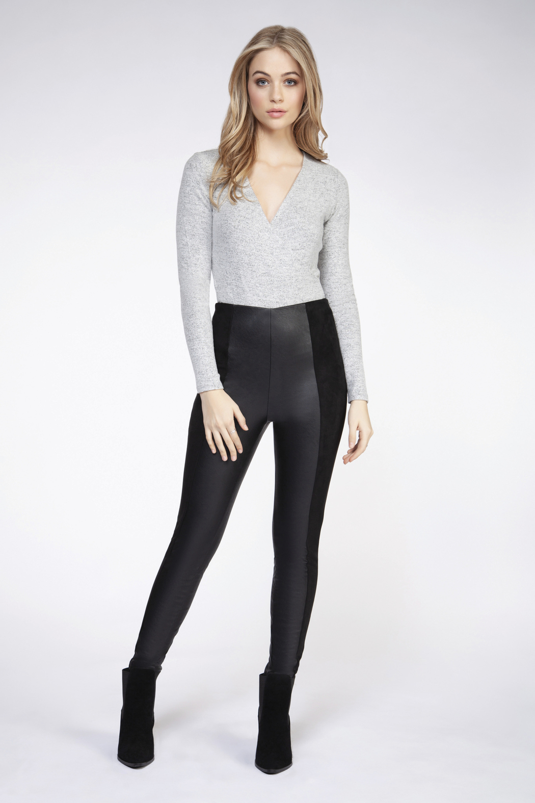 Dex Faux Leather Panel Leggings - Front Cropped Image