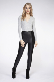 Dex Faux Leather Panel Leggings - Front cropped
