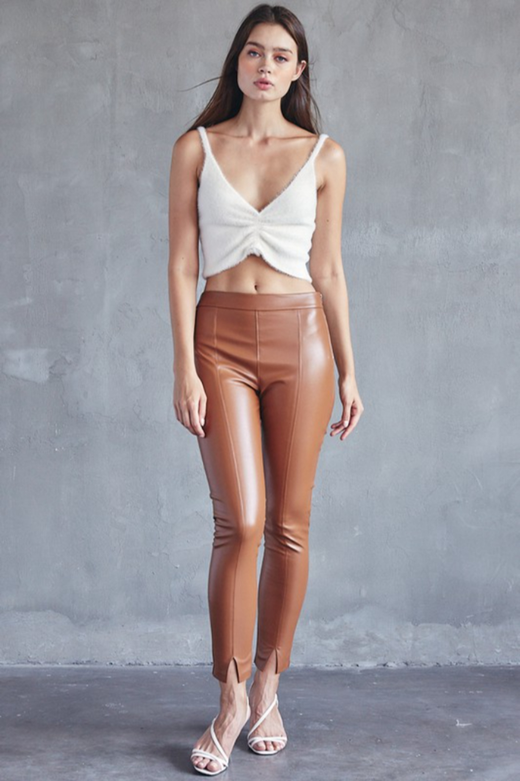 Idem Ditto  Faux Leather Pant - Front Cropped Image