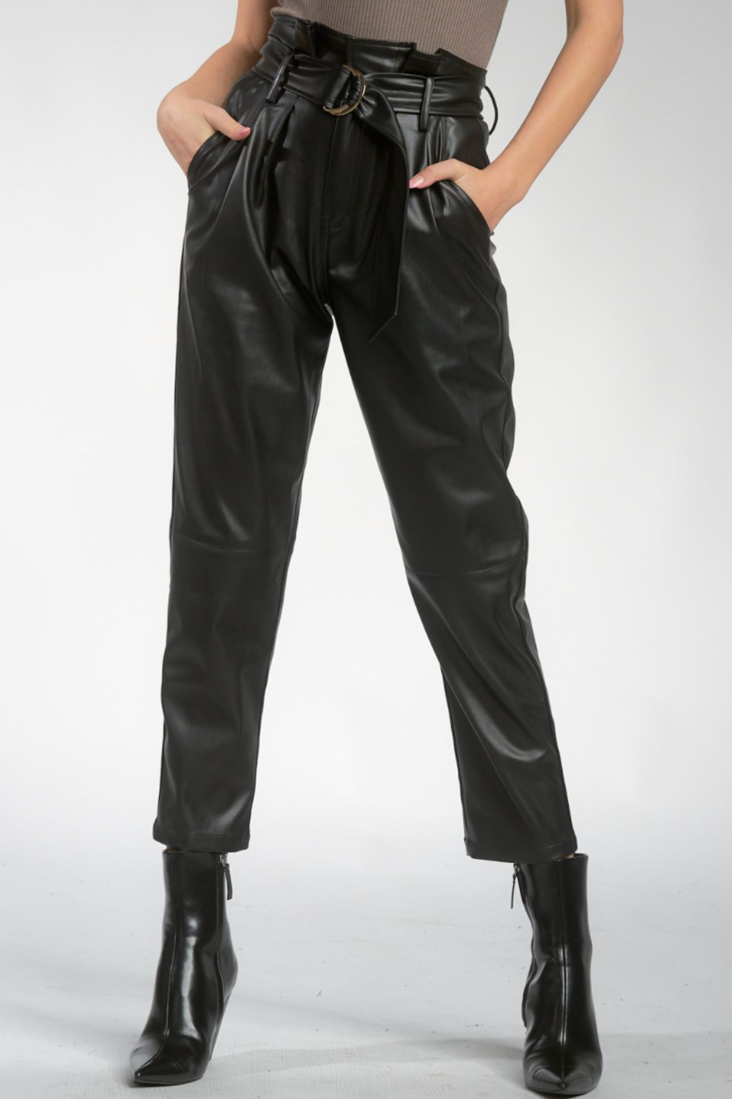 Elan Faux Leather Pants with Belt - Main Image