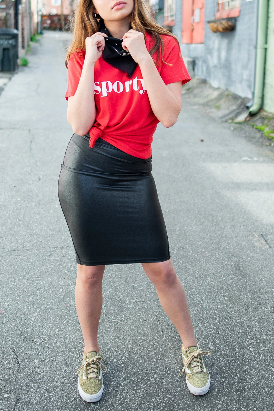 Spanx Faux Leather Pencil Skirt - Back Cropped Image
