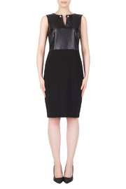 Joseph Ribkoff Faux Leather / Ponte Dress w Pearl Detail - Product Mini Image