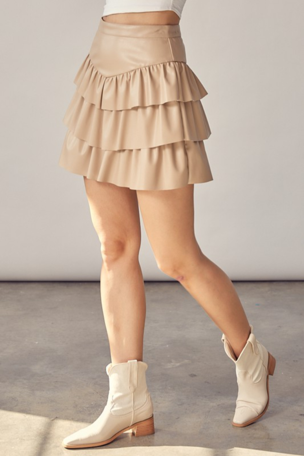 Idem Ditto  Faux Leather Ruffle Skirt - Side Cropped Image
