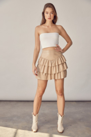 Idem Ditto  Faux Leather Ruffle Skirt - Other