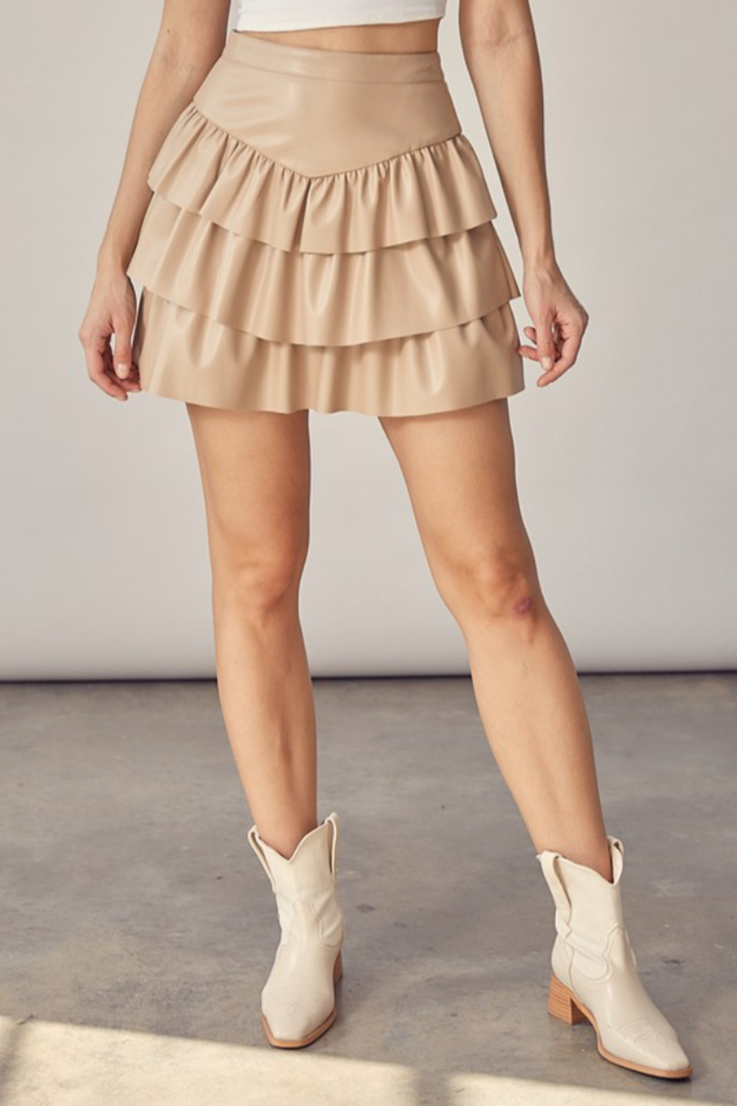 Idem Ditto  Faux Leather Ruffle Skirt - Front Cropped Image