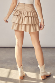 Idem Ditto  Faux Leather Ruffle Skirt - Back cropped