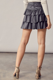 Idem Ditto  Faux Leather Ruffle Skirt - Side cropped