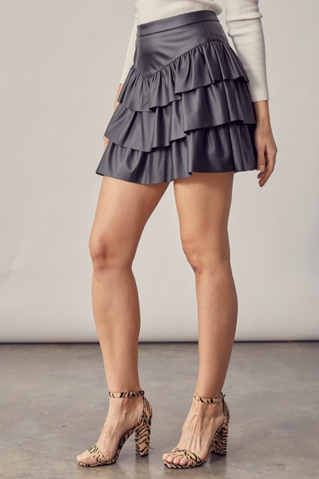 Idem Ditto  Faux Leather Ruffle Skirt - Front Full Image