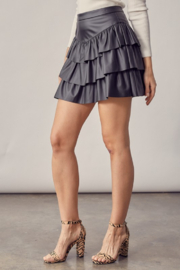 Idem Ditto  Faux Leather Ruffle Skirt - Front full body