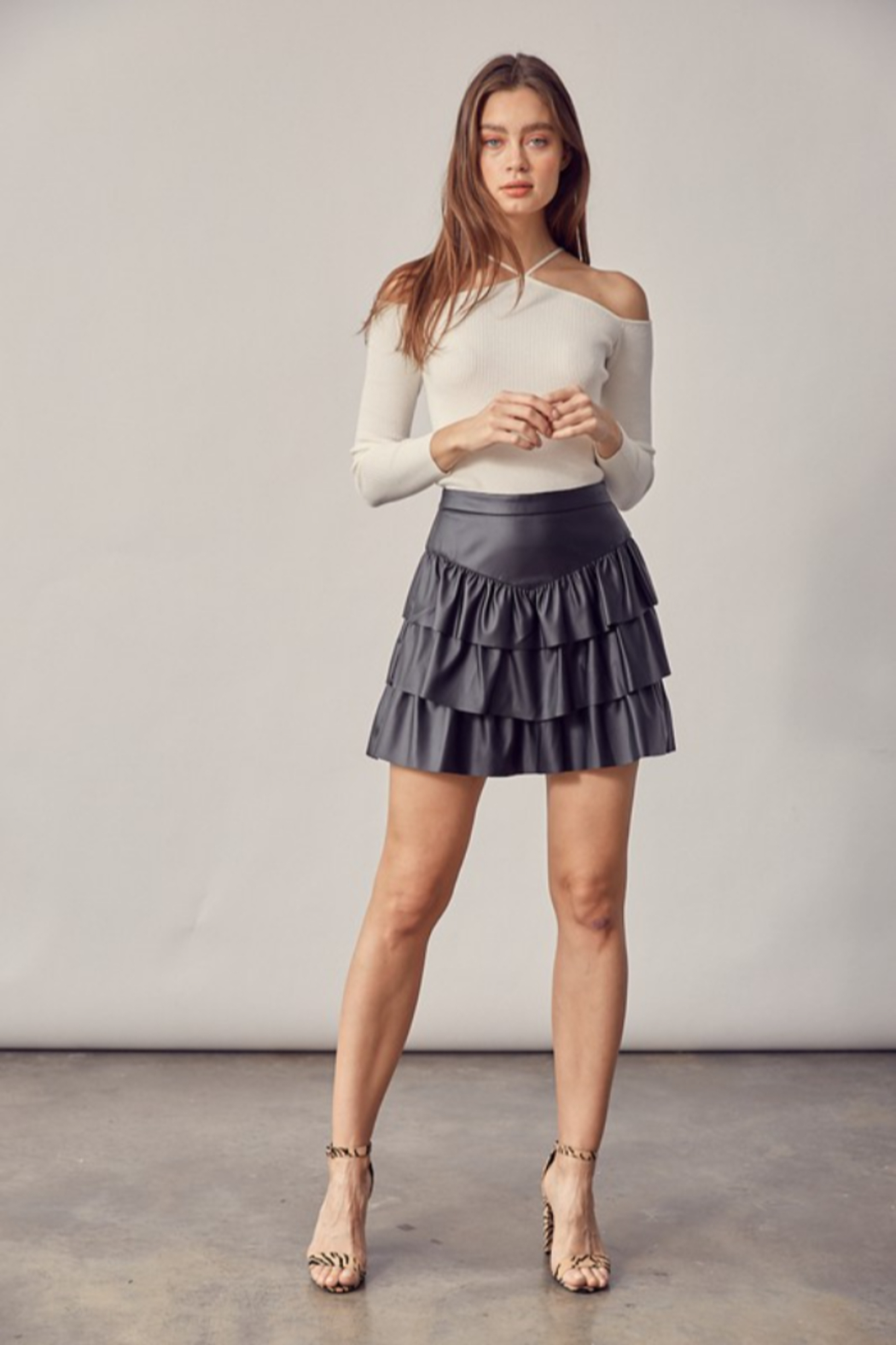 Idem Ditto  Faux Leather Ruffle Skirt - Back Cropped Image