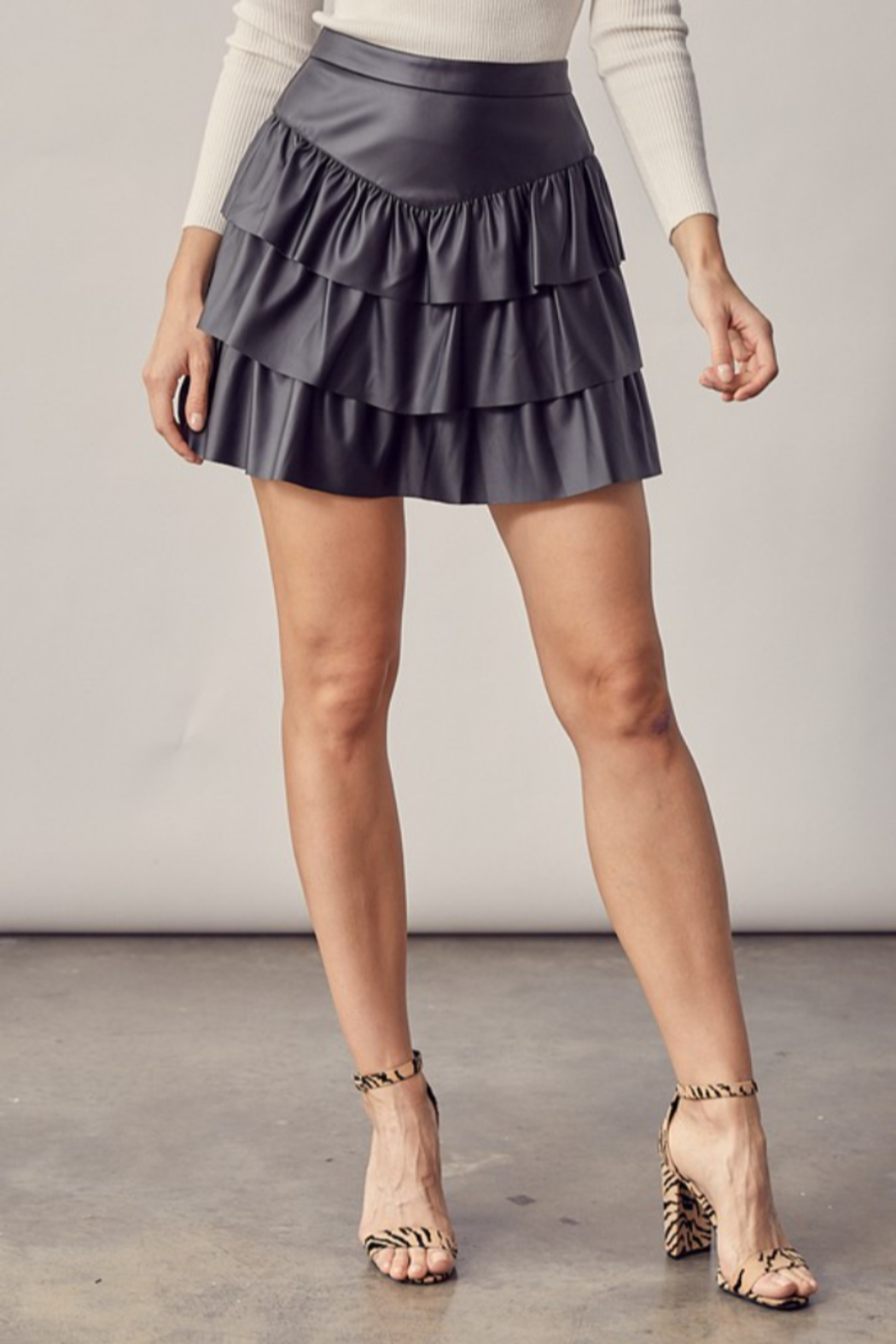 Idem Ditto  Faux Leather Ruffle Skirt - Main Image