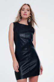 Q2 Faux Leather Shift Dress - Product Mini Image