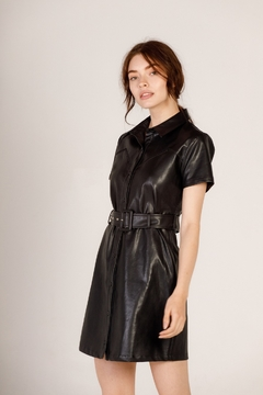 Moodie Faux Leather Shirt Dress - Product List Image
