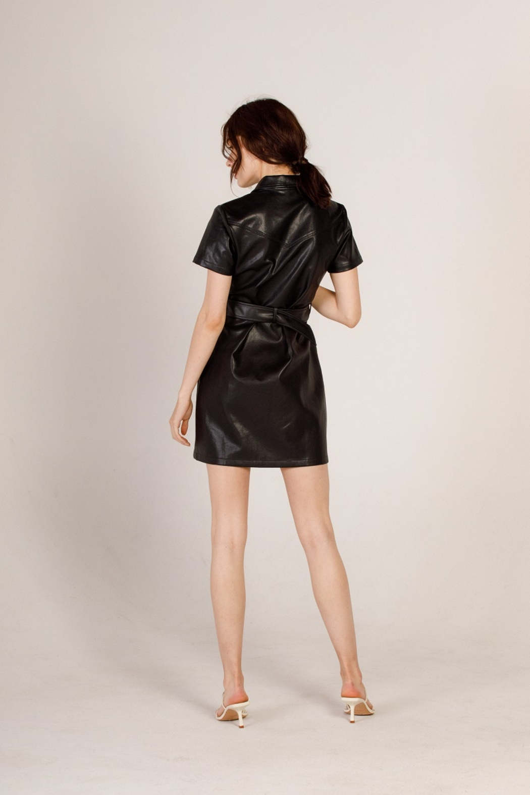 Moodie Faux Leather Shirt Dress - Back Cropped Image