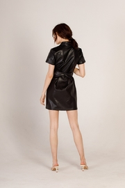 Moodie Faux Leather Shirt Dress - Back cropped