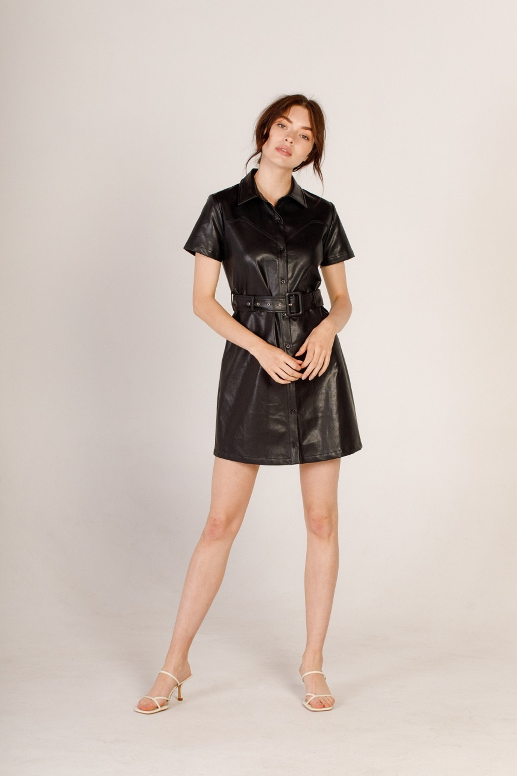 Moodie Faux Leather Shirt Dress - Front Full Image