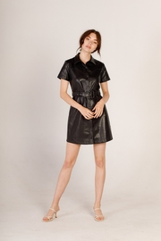 Moodie Faux Leather Shirt Dress - Front full body