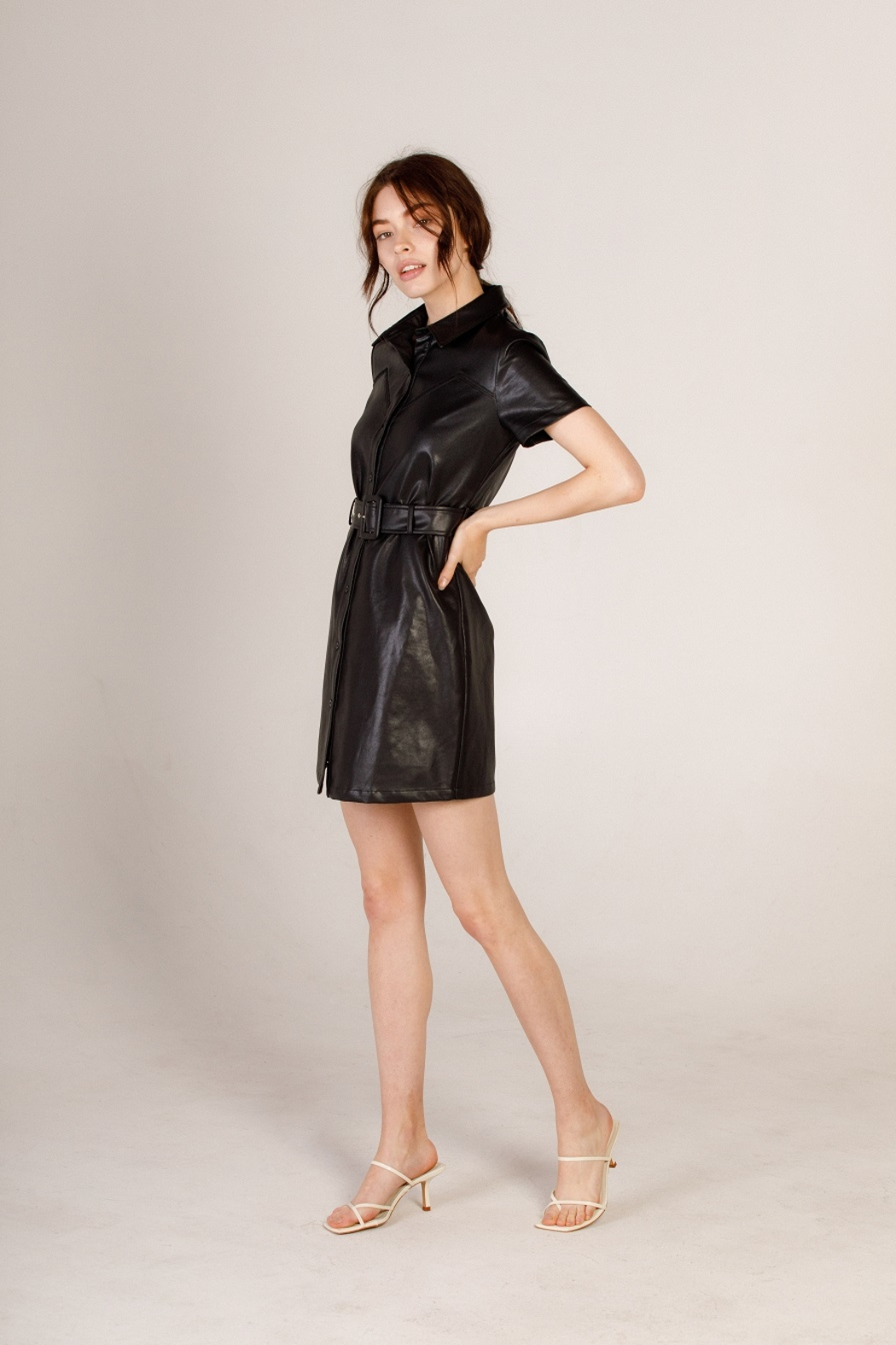 Moodie Faux Leather Shirt Dress - Side Cropped Image