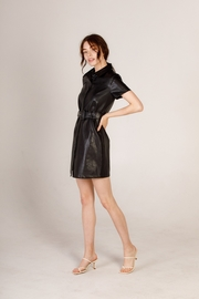 Moodie Faux Leather Shirt Dress - Side cropped