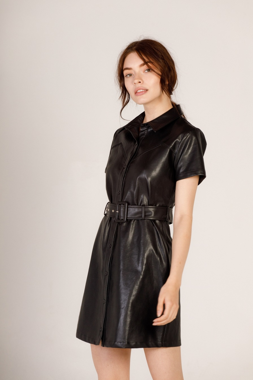 Moodie Faux Leather Shirt Dress - Front Cropped Image