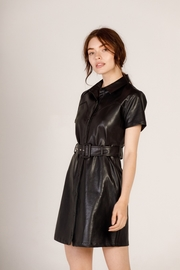 Moodie Faux Leather Shirt Dress - Front cropped