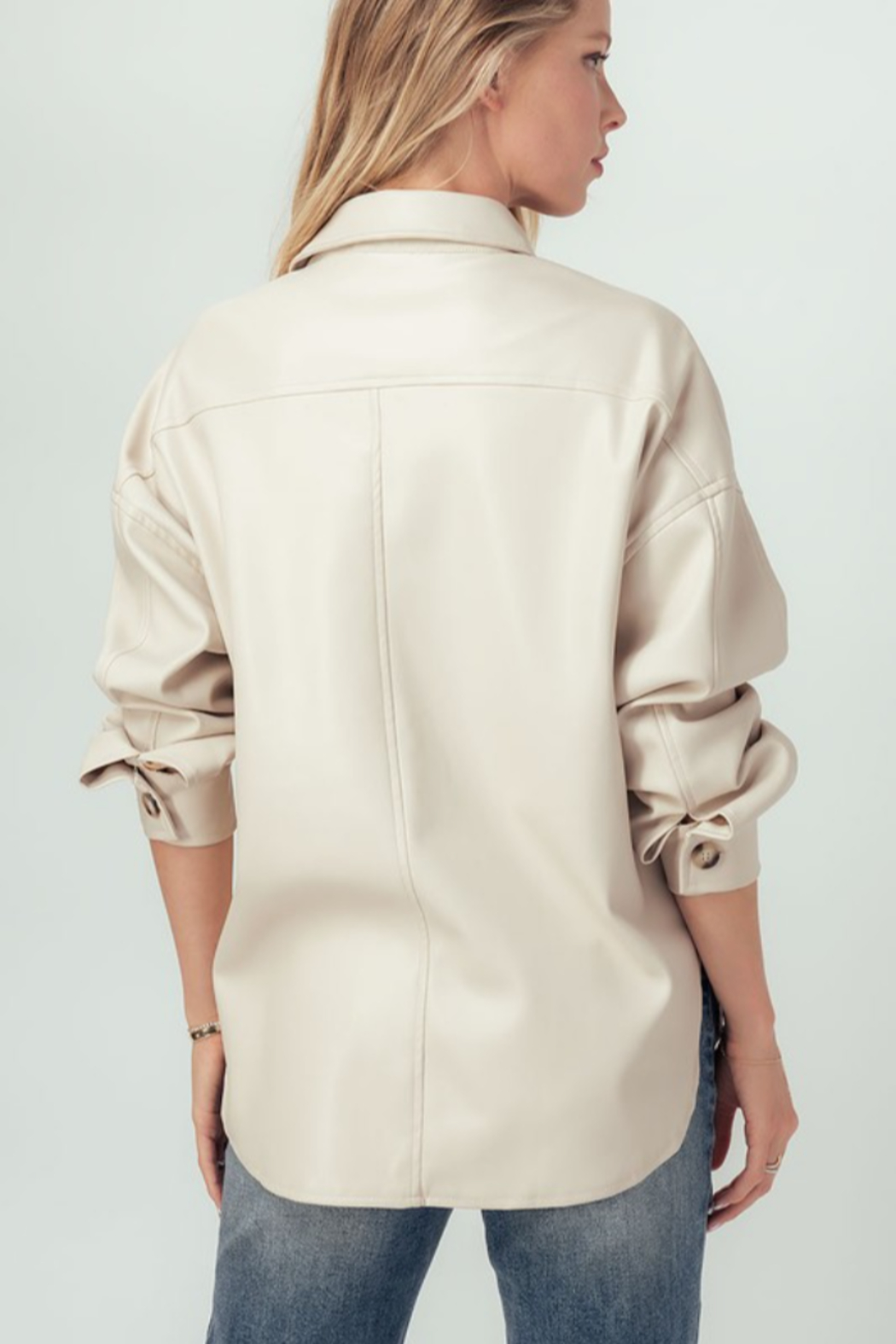 Trend Notes  Faux Leather Shirt Jacket - Front Full Image
