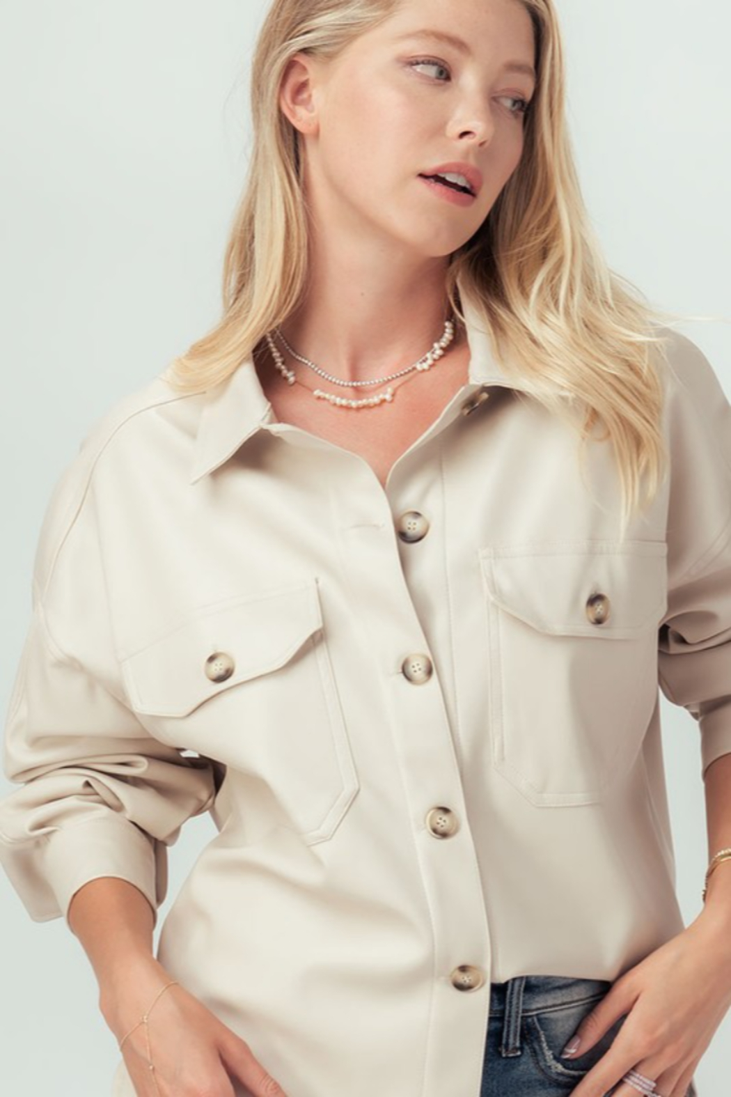 Trend Notes  Faux Leather Shirt Jacket - Side Cropped Image