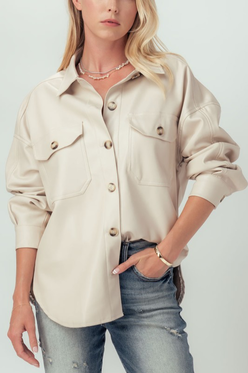 Trend Notes  Faux Leather Shirt Jacket - Main Image