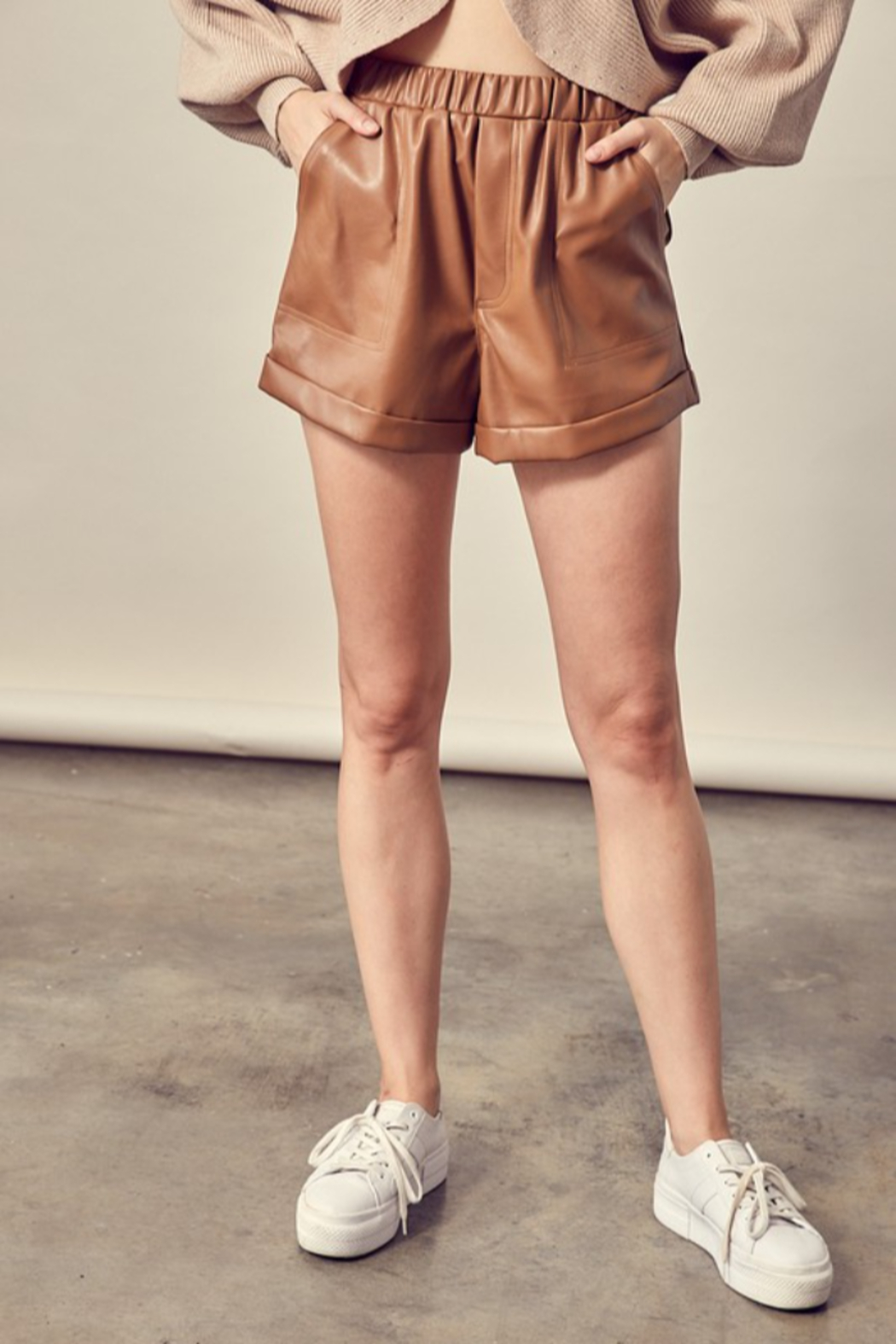 Mustard Seed Faux Leather Shorts - Main Image