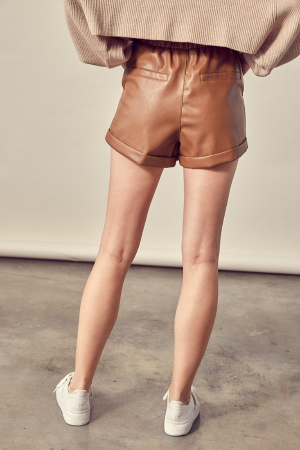 Mustard Seed Faux Leather Shorts - Side Cropped Image