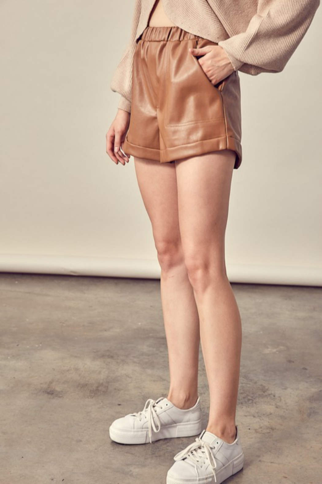 Mustard Seed Faux Leather Shorts - Front Full Image