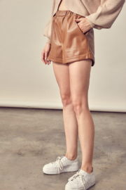 Mustard Seed Faux Leather Shorts - Front full body