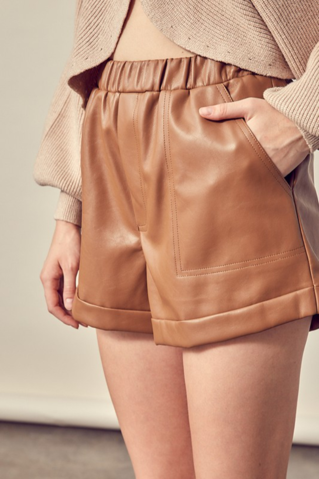 Mustard Seed Faux Leather Shorts - Back Cropped Image