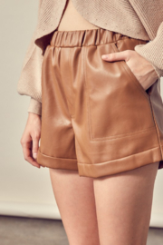 Mustard Seed Faux Leather Shorts - Back cropped