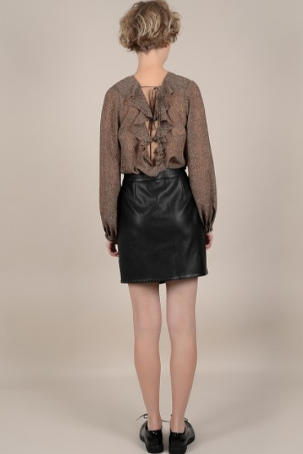 Molly Bracken Faux leather silver studded mini skirt - Front Full Image