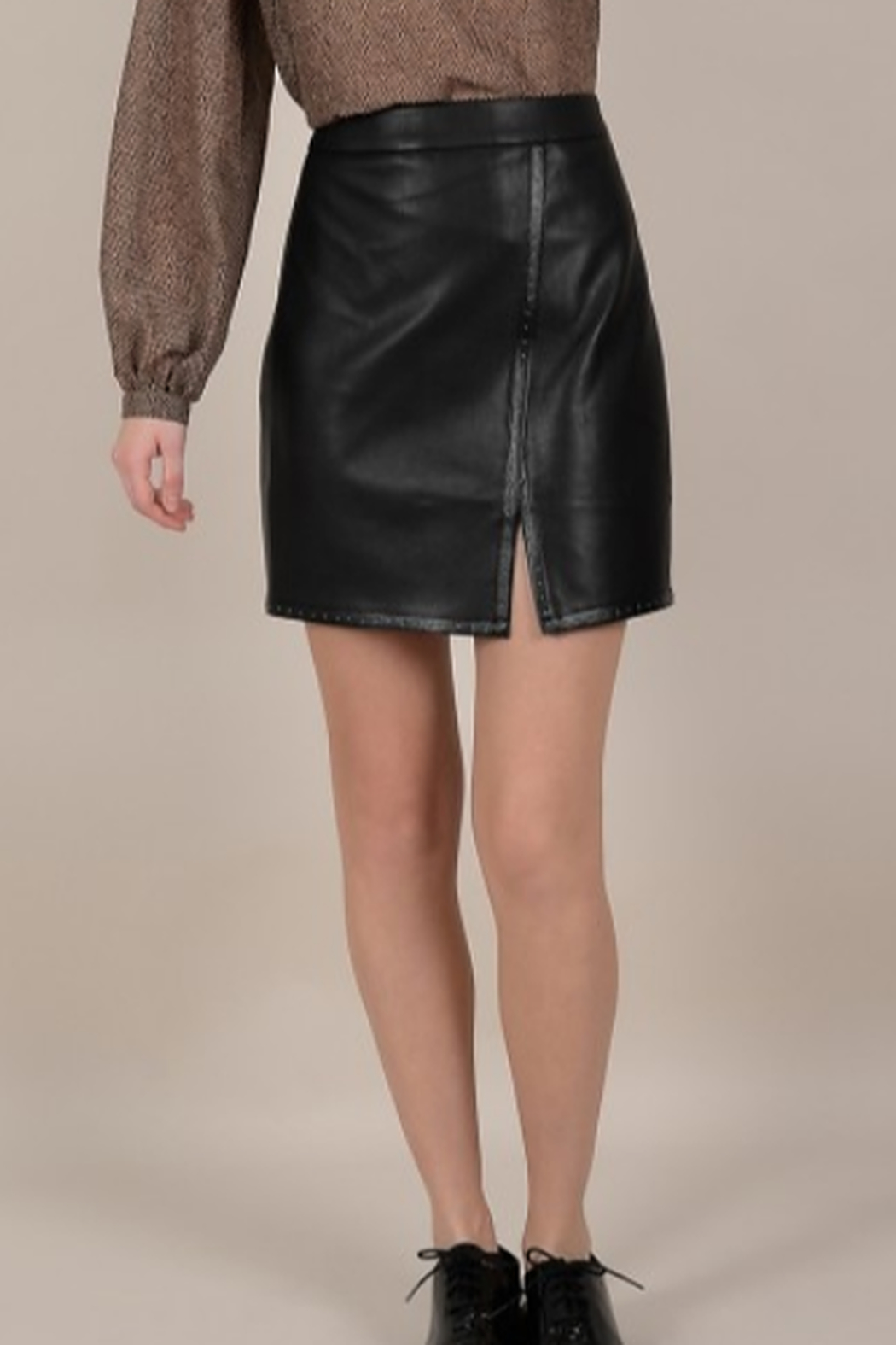 Molly Bracken Faux leather silver studded mini skirt - Main Image