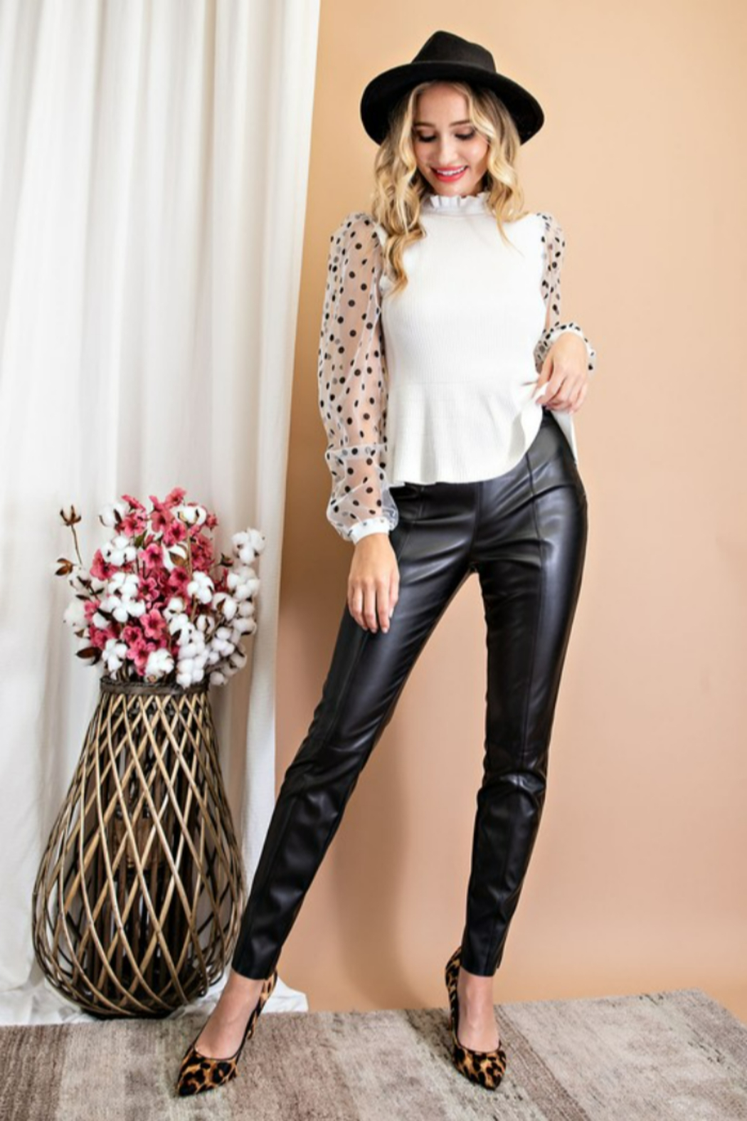 eesome Faux Leather Skinny Pants - Main Image