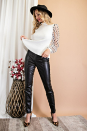 eesome Faux Leather Skinny Pants - Side cropped