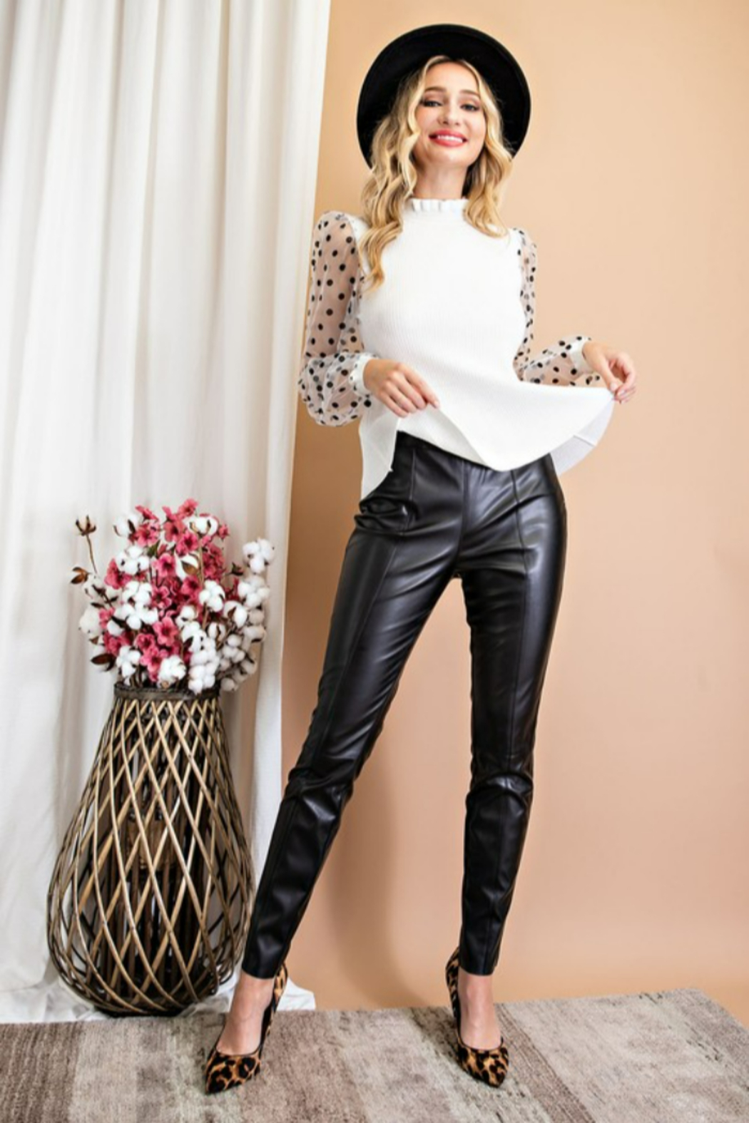 eesome Faux Leather Skinny Pants - Front Full Image