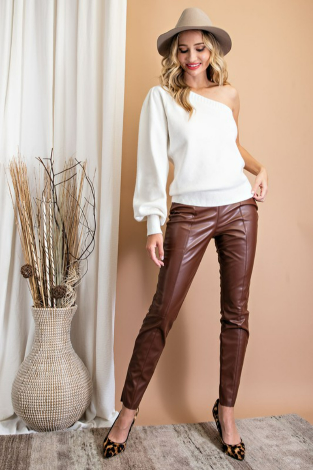 eesome Faux Leather Skinny Pants - Front Cropped Image